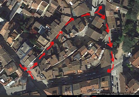 Sentit actual dels carrers Comerç i Avall (Can Centena - Pl. Fca. Barnades)